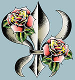 fleur de lys with rose