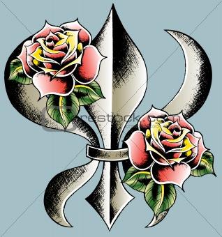 fleur de lys with rose