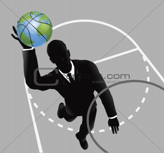 Business man slam dunking basketball