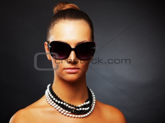 Close up shot of attractive girl with stylish sunglasses