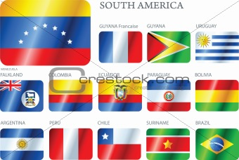 Flags South America - set of buttons.