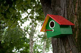 Home-made bright colored bird house