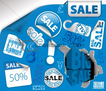 Set of blue discount tickets, labels
