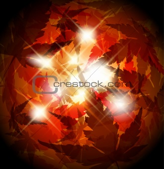 Autumn golden leafs abstract background