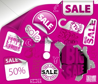 Set of purple discount elements