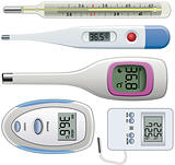 vector set of thermometers of different types