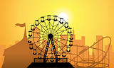vector silhouettes of a city and amusement park