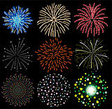 vector set of colorful fireworks