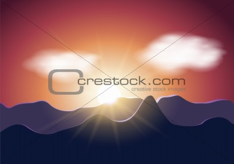 Sunrise mountains illustration