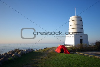 Camping at a Tower in Rodvig, Denmark