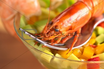 Shrimp on Mixed Salad in Cocktail Glass