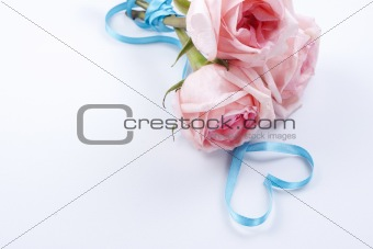 Bouquet of roses with ribbon in heart shape