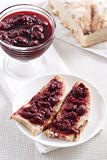 Cherry jam on toast