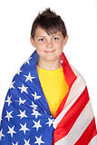 Funny child with yellow t-shirt with American flag