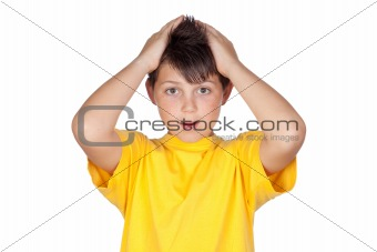 Surprised child with yellow t-shirt