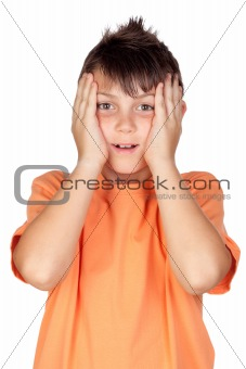 Surprised child with orange t-shirt