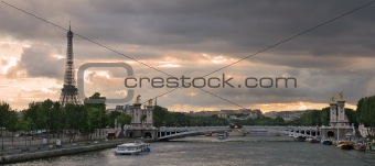 Panoramic view on Seine river and Eiffel Tower.