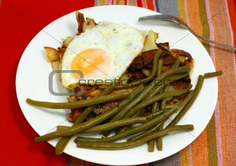 French bean and scrambled egg on the plate