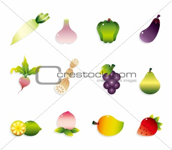 cartoon Fruits and Vegetables icon set