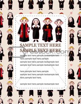 cartoon Priest and nun card