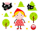 Little Red Riding Hood & Black Wolf icon collection