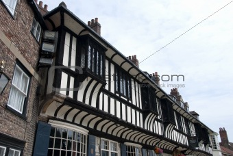Blak and White Timbered Building