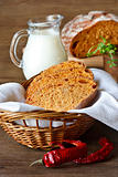 Homemade bread with paprika.