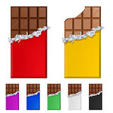 Set of chocolate bars in colorful wrappers