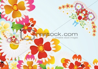 Abstract butterfly and flowers