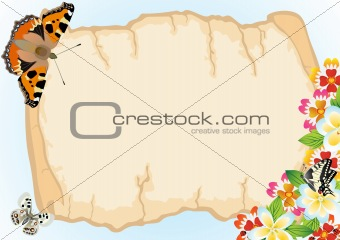 Old papyrus, butterflies and flowers