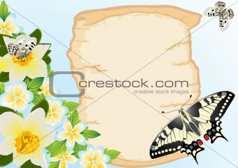 Old papyrus, flowers and butterflies
