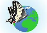 Butterfly on a globe