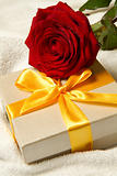 gift with red rose
