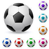 Realistic soccer ball in different colors