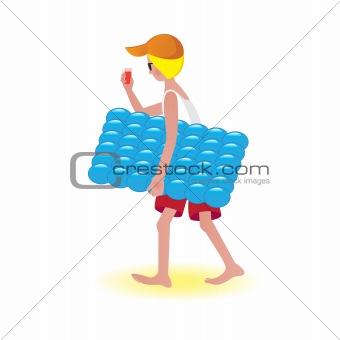 Boy on air mattress
