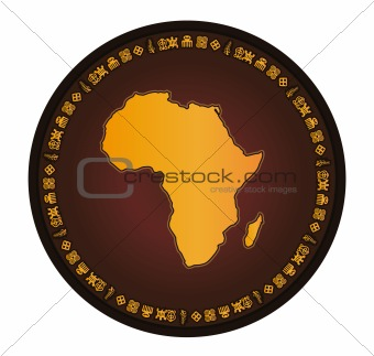 Africa globe frame vector map