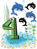 Sea animals and numbers series for kids ,4,dolphin.
