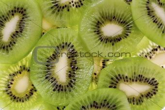 Sliced Kiwi Fruit (Actinidia deliciosa)