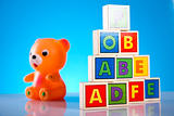 Colorful alphabet blocks, baby