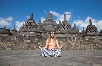 Meditation at Borobudur temple