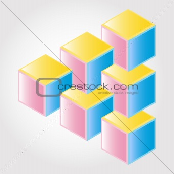 Abstract color design 3D, impossible object - vector
