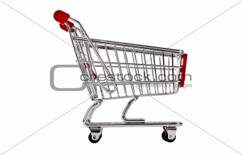 Single shopping trolley isolated on white
