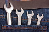Spanners in jeans pocket
