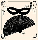 vintage mask and fan