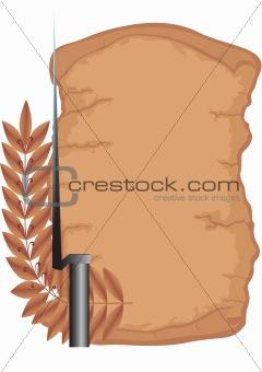Old scroll and bayonet