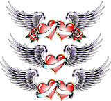 double heart with wings