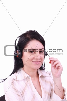 Headset. Customer service operator woman with headset smiling looking at camera. Beautiful mixed race Arabic Caucasian call center woman isolated on white background.
