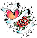 heart and rose ribbon design