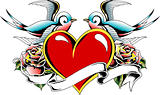 heart with bird banner