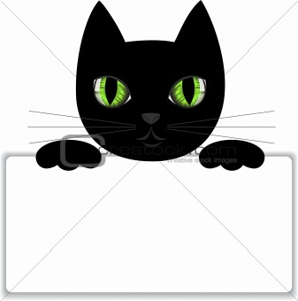 Black cat with a card